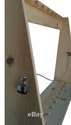 Pine Wooden Vertical 12 Place Gun Rack Long Rifle Lockable Storage Display