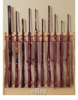 Pine Wooden Vertical Gun Rack 10 Place Rifle Shotgun Storage Floor Stand Display
