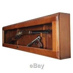 Rifle Display Case Gun Cabinet Horizontal Wall Mount Glass Wood Locking Storage