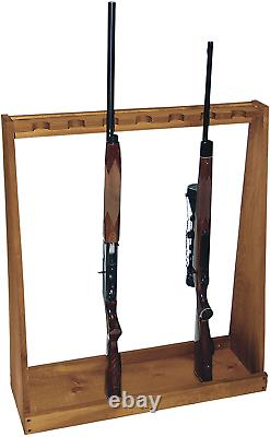 Rifle Shotgun Rack Freestanding Gun Storage Shelf Barn Wood 7 Guns Indoor Safe