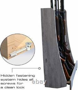 Rifle Shotgun Rack Freestanding Gun Storage Shelf Barn Wood 8 Guns Indoor Safe