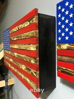 Rustic American Flag Concealment Compartment Cabinet Hidden Gun Storage Case