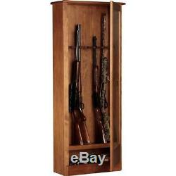 Security Gun Display Cabinet Safe 10 Gun Rifle Storage Shotgun Firearm Key Wood