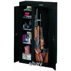 Stack-On 10 Gun Double Door Key Locking Security Storage Cabinet Safe, Black