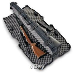 TSA Approved Double Rifle HARD Carry 53 CASE Foam Pad Scoped 2 Gun Storage Lock