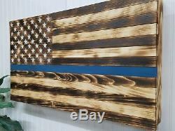 Thin Blue Line American Flag Gun Concealment Cabinet Secret Hidden Storage Case