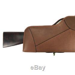 Tourbon Genuine Leather Rifle Case Scope Bag Full Zipper Slip Gun Storage Brown
