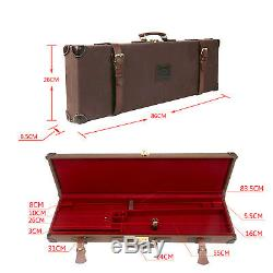 Tourbon Gun Case Shotgun Hard Box Canvas & Leather Storage Safe Lock Vintage