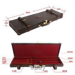 Tourbon Shotgun Hard Case Leather Box Gun Holder with Lock Gun Storage Vintage