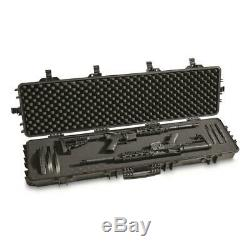 Two-Gun Carry Hard Case Waterproof AR Lockable Foam Storage Large Box With Wheels