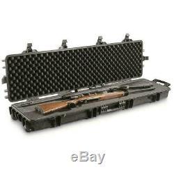 Two Gun Rifle Shotgun Hard Case Waterproof AR Lockable Foam Storage Box w Wheels
