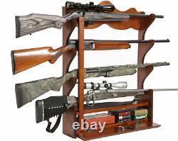 Wall Mount Gun Rack Locking Storage Wood Wooden 4 Rifle Hunting Cabinet Display