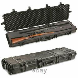 Waterproof Two Gun Rifle Shotgun Hard Case Lockable Foam Storage Box with Wheels