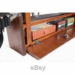 Wood Wall Rack Cabinet 4 Rifle Gun Shotgun Display Locking Bar Ammo Storage Box