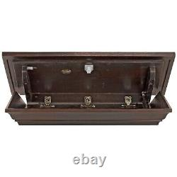 Wooden Concealment Shelf Gun Valuable Storage 24 Wide Magnetic Locking Espresso