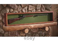 Wooden Gun Sword Display Case Hardwood Wall Mount Storage Rifle Rack Glass Lid