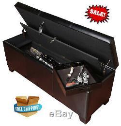 XL Gun Safe Hidden Rifle Shotgun Pistol with Lock Storage Bench Seat Furniture